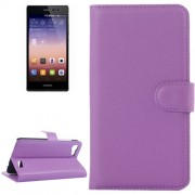 Litchi Texture Horizontal Flip Leather Case with Card Slots & Wallet & Holder for Huawei Ascend G7(Purple)