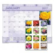 Antique Floral Monthly Desk Pad Calendar, 22 X 17, Antique Floral, 2017