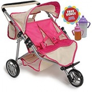 Twin DOLL Jogger Stroller with Diaper Bag Off white/Pink designed (Bitty Twins) by Exquisite Buggy