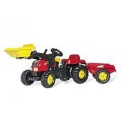 Rolly Toys 23127 - Veicolo a Pedali Kid X con Ruspa e Rimorchio, Rosso