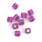Pkt of 10 FLORESANT PURPLE SQUARE BEADS WITH SILVER CENTRES