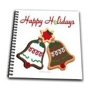 3dRose db_107296_1 Happy Holiday Christmas Bells Cookies Drawing Book, 8 by 8-Inch
