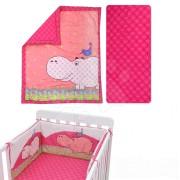 Babaágynemű garnitúra Joy toTs-smarTrike víziló takaró, lepedő és fejvédő 100% pamut szatén rózsaszín