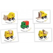 Santoys - Solid Wood Toy - Awesome Wooden Vehicles Set #2 - Construction Vehicle Set