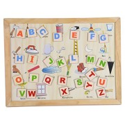 Skillofun Wooden Magnetic Twin Play Tray - Alphabet Attic, Multi Color