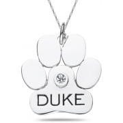 Personalized Dog Paw Pendant in 10K or 14K White Gold