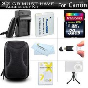32GB Accessories Kit For Canon PowerShot SX600 HS SX700 HS ELPH 500 HS SX610 HS SX710 HS SX720 HS Digital Camera Includes 32GB High Speed SD Memory Card + Replacement NB-6L Battery + Charger + Case + More