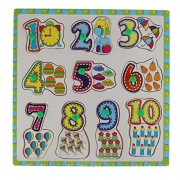 0-9 Wooden Number Matching Puzzle Picture Board With Peg Knobs - (1c469) - Learning Educational Toys for kids 18M+