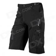 NUCKILY Quick Dry Nylon NS357 ciclo al aire libre del hombre + fibra elastica pantalones cortos - Negro (Tamano L)
