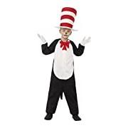 Smiffy's Children's Cat in The Hat Costume, Jumpsuit, Hat & Gloves, Size: M, Colour: Black, 27538