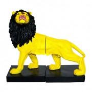 Leão Porta Livros Yellow e Black Fullway 23x26x11