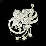 Swarovski Crystal Clear Cutout Flower Brooch