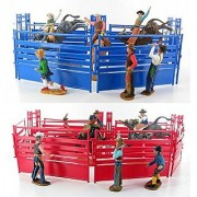 Western Rodeo Deluxe Playset - Bullriders Clowns Red / Blue Fence Assorted (One RED Playset or One BLUE playset)