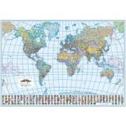 Harta de perete, a lumii, hartie cerata, politica 200x120 cm
