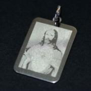 Steel Pendant Rec Heart of Jesus