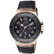 GUESS Black Leather Round Dial Quartz Watch For Men (W0040G5)