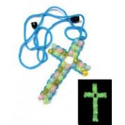 Sopresa! El Camino del Perdon Cruz Con Cuentas Que Brilla En La Oscruidad/Beaded Glow-In-The-Dark Cross Necklace 12pk