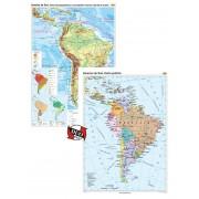 America de Sud. Harta fizico-geografică și a principalelor resurse naturale de subsol și America de Sud. Harta politică