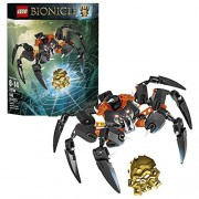 Lego Year 2015 Bionicle Series 8 Inch Wide Figure Set #70790 Lord Of Skull Spiders With Translucent Eye And Lever Operated Grip And Crush Function Plus Golden Skull Spider (Total Pieces: 145)