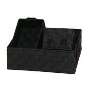 Manden Kasi (3-delige set) - zwart, Flechtwaren Müller