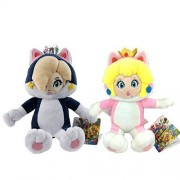 """One Set of 2 Super Mario 3D World Plush Toys Cat Princess Peach Rosalina Stuffed Animal Soft Figure with a Free Super Mario Badge as Gift 7"""" by winwin_trade"""