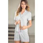 Pijama Feminino Mixte Adulto Short Doll Listras Mescla
