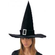 Cappello strega in velluto nero per adulti festa di Halloween