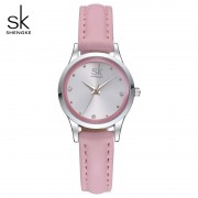 SK Ladies Watches Small Round Dial Quartz Watch Waterproof Montre Femme Women Pink Leather Watches 2017 Relogios Feminino #K0008
