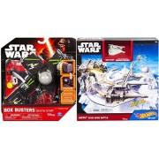 Hot Wheels Star Wars Starship Hoth Echo Base Battle Play Set Snowspeeder Blast-Out Battle Play Set & Box Busters Death Star Mini Spaceship Set + Action toy Bundle 2-Pack