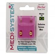 Brincos Medi System Infantil Rosa Dourado Ref-1101