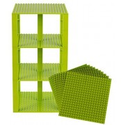 """Premium Lime Green Stackable Base Plates 10 Pack 6"""" X 6"""" Baseplate Bundle With 80 Lime Green Bonus Building Bricks (Lego Compatible) Tower Construction"""