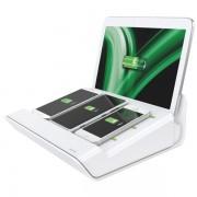 Încărcător multifuncţional Complete XL pentru 3 smartphone-uri si o tableta, alb