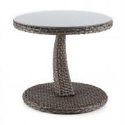 Blumfeldt Tabula, kétszínű, tópszínű, kisasztal, 50 cm, üveg, polirattan, alumínium (GDW9-Tabula-TP)