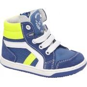 Blauwe leren sneaker ritssluiting