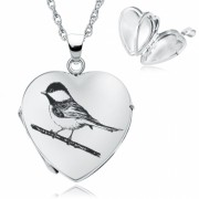 Blue Tit Locket, 4 Photo Heart, Personalised, Sterling Silver