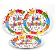 Boldog Születésnapot tányér - 23 cm - 6 darabos