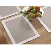 BLANC CERISE Lot de 2 sets de table - lin déperlant - bicolore, brodé