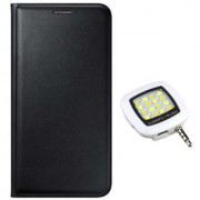 Lava A76 Flip cover (BLACK) With Night Selfie LED Flash Light-Color May Vary