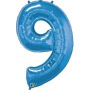 Number 9 Blue Super Shape Number Foil Balloon