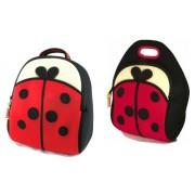 Dabbawalla Bags Cute As A Bug Ladybug Kids Backpack and Lunch Bag Gift Set