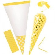 Cono celofán bolsas dulces - sol amarillo (Pack de 10)
