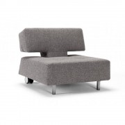 Fauteuil mobile sur roulettes LONG HORN gris Twist_Granite convertible lit 85*115cm