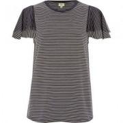 River Island Navy stripe short mesh sleeve T-shirt