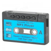Forme Retro cassette Mini USB rechargeable Lecteur MP3 w / slot TF - Noir + Bleu (16 Go)
