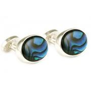 Mousie Bean Crystal Cufflinks Oval Semi Precious 005 Abalone Blue