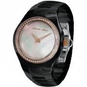 Black Dice BD-051-03 - Reloj analógico de mujer de cuarzo con correa de cerámica negra - sumergible a 50 metros