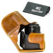 MegaGear Ever Ready Protective Leather Camera Case Bag for Canon Powershot SX540 HS SX530 HS (Light Brown)