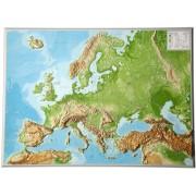 Wandkaart Europa met reliëf, 77 x 55 x 2 cm | Geo Relief