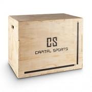 "Capital Sports Shineater Caja de Salto Pliométrica de 3 Alturas 20"" 24"" 30"" (Cajón pliométrico de madera 11 capas, 3x altura entrenamiento, apto gimnasio profesional o entrenamiento aire libre)"