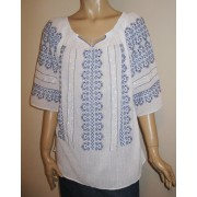 Hand Embroidered Romanian Peasant Blouse - Blue Comb size M